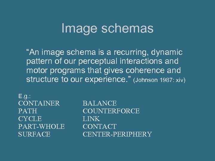 """Image schemas """"An image schema is a recurring, dynamic pattern of our perceptual interactions"""