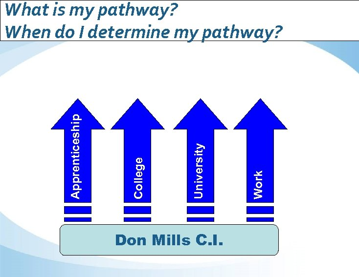 Don Mills C. I. Work University College Apprenticeship What is my pathway? When do