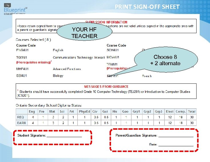 PRINT SIGN-OFF SHEET YOUR HF TEACHER Choose 8 + 2 alternate