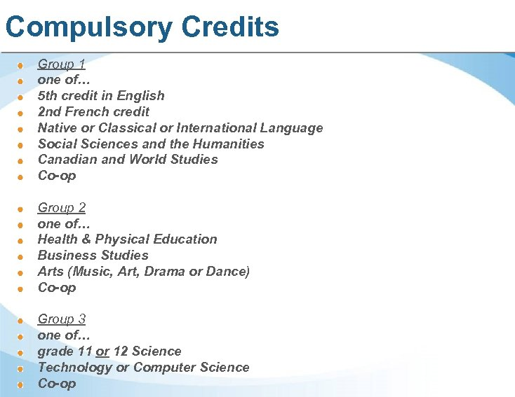 Compulsory Credits Group 1 one of… 5 th credit in English 2 nd French