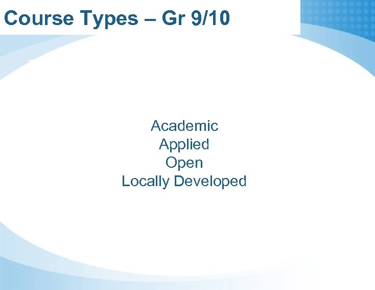 Course Types – Gr 9/10 Academic Applied Open Locally Developed