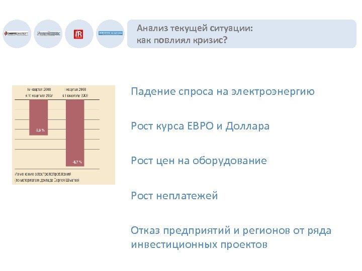 Анализ текущей ситуации: как повлиял кризис? Падение спроса на электроэнергию Рост курса ЕВРО и