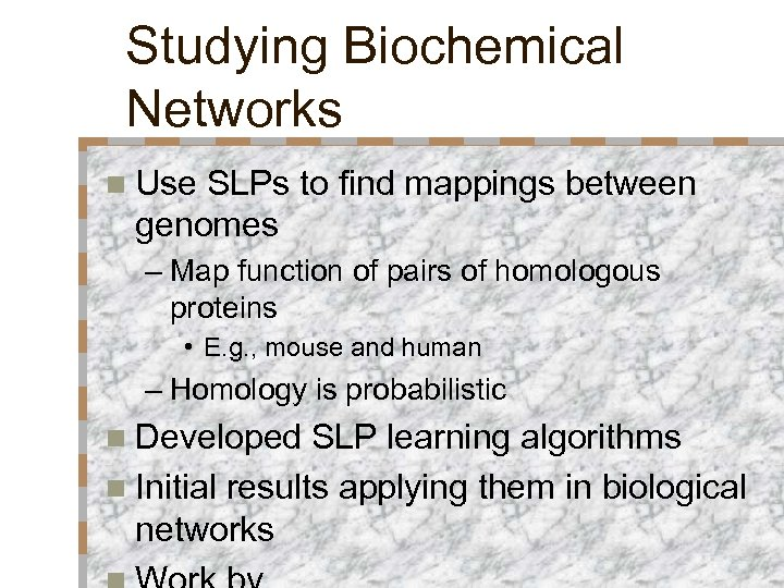 Studying Biochemical Networks n Use SLPs to find mappings between genomes – Map function