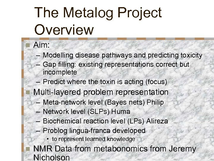 The Metalog Project Overview n Aim: – Modelling disease pathways and predicting toxicity –