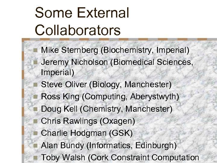 Some External Collaborators n n n n n Mike Sternberg (Biochemistry, Imperial) Jeremy Nicholson