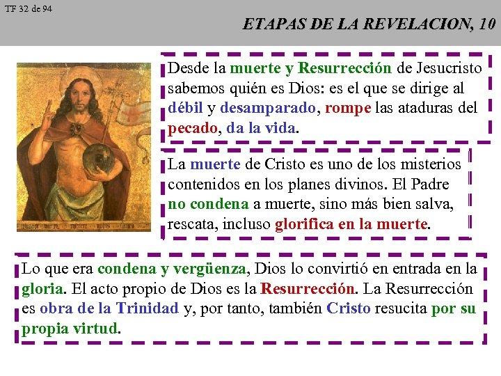 TF 32 de 94 ETAPAS DE LA REVELACION, 10 Desde la muerte y Resurrección