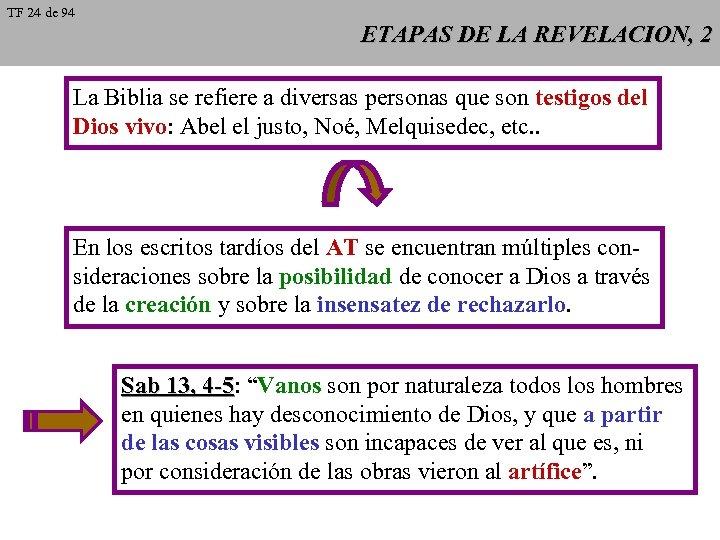 TF 24 de 94 ETAPAS DE LA REVELACION, 2 La Biblia se refiere a