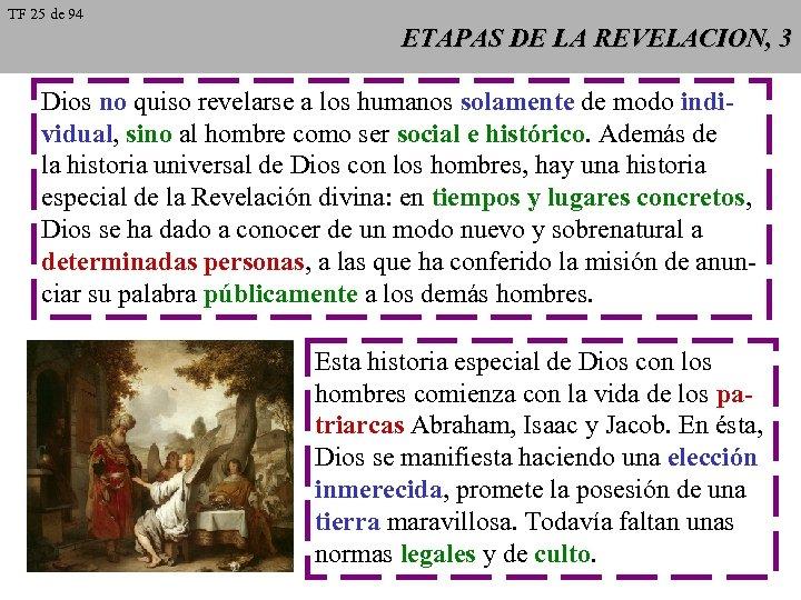 TF 25 de 94 ETAPAS DE LA REVELACION, 3 Dios no quiso revelarse a