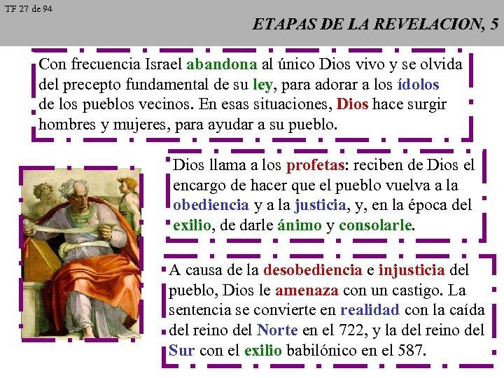 TF 27 de 94 ETAPAS DE LA REVELACION, 5 Con frecuencia Israel abandona al