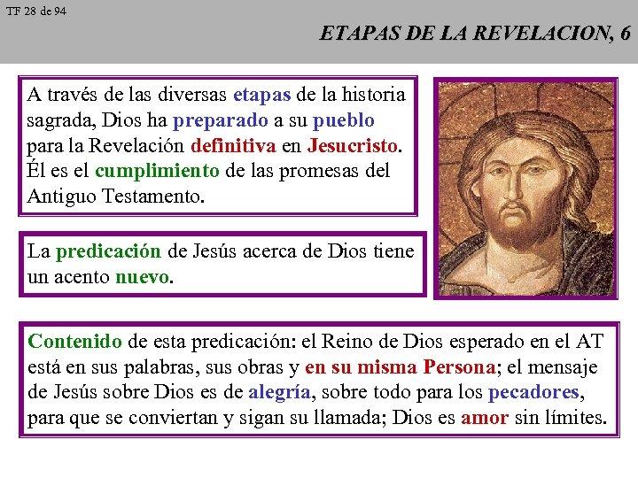 TF 28 de 94 ETAPAS DE LA REVELACION, 6 A través de las diversas