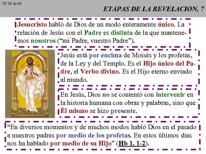 TF 29 de 94 ETAPAS DE LA REVELACION, 7 Jesucristo habló de Dios de