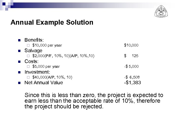 Annual Example Solution n Benefits: ¨ n $ 125 $5, 000 per year -$
