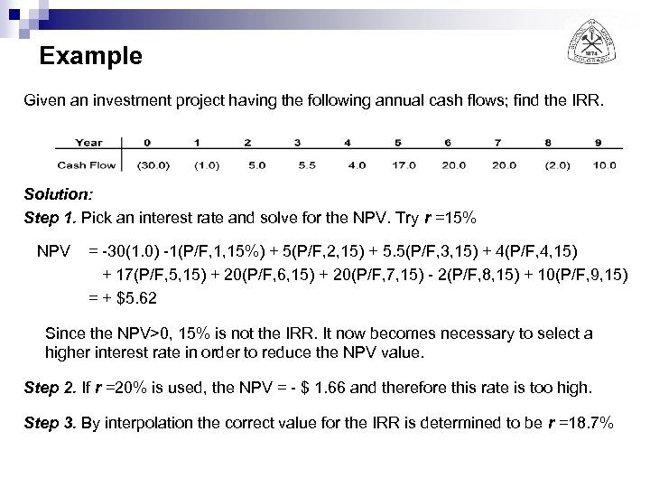 Example Given an investment project having the following annual cash flows; find the IRR.
