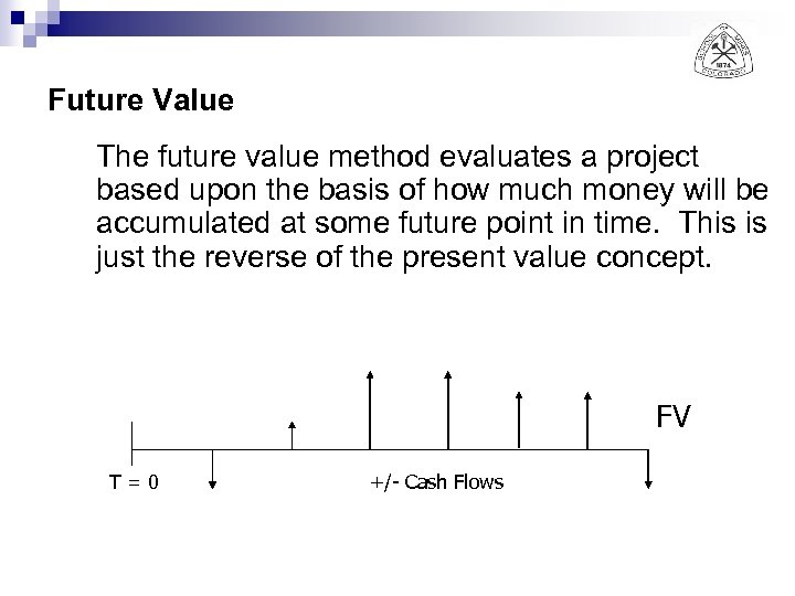 Future Value The future value method evaluates a project based upon the basis of
