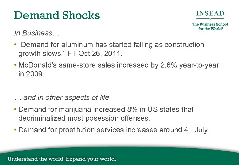 "Demand Shocks In Business… • ""Demand for aluminum has started falling as construction growth"