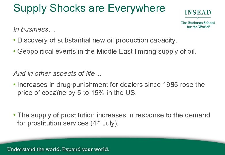 Supply Shocks are Everywhere In business… • Discovery of substantial new oil production capacity.