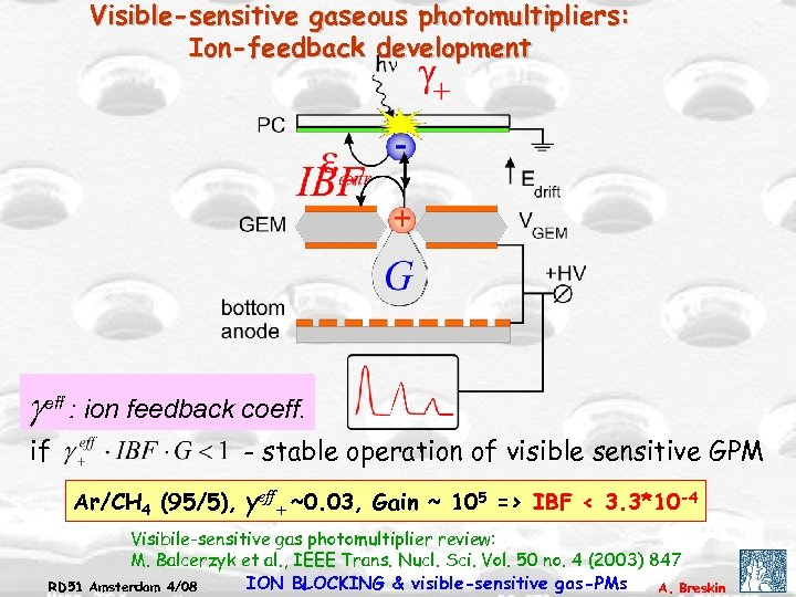 Visible-sensitive gaseous photomultipliers: Ion-feedback development geff : ion feedback coeff. if - stable operation