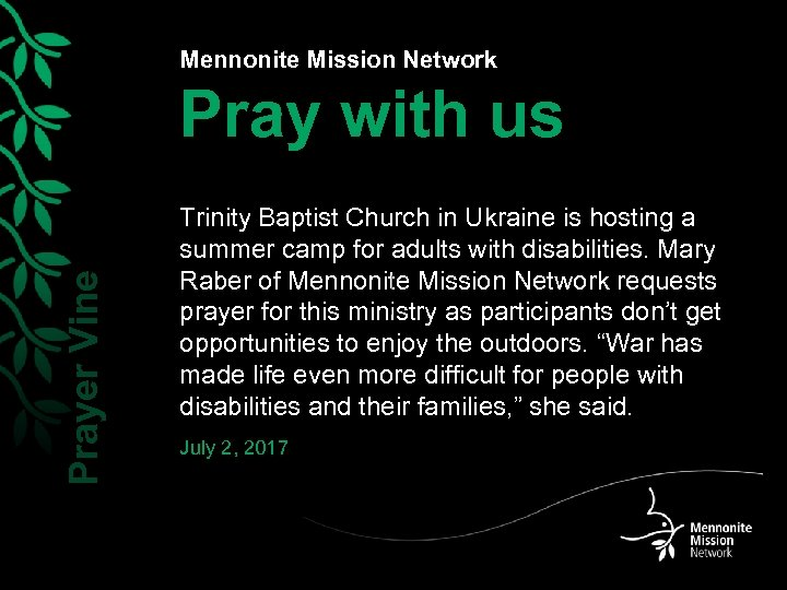 Mennonite Mission Network Prayer Vine Pray with us Trinity Baptist Church in Ukraine is