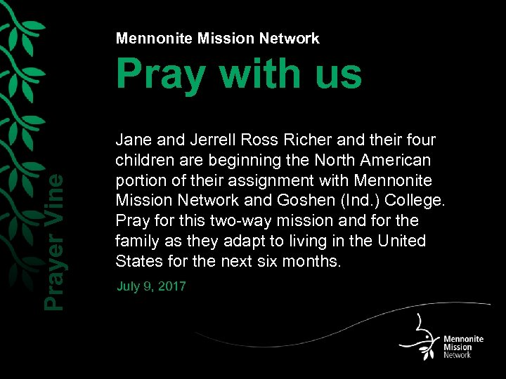 Mennonite Mission Network Prayer Vine Pray with us Jane and Jerrell Ross Richer and