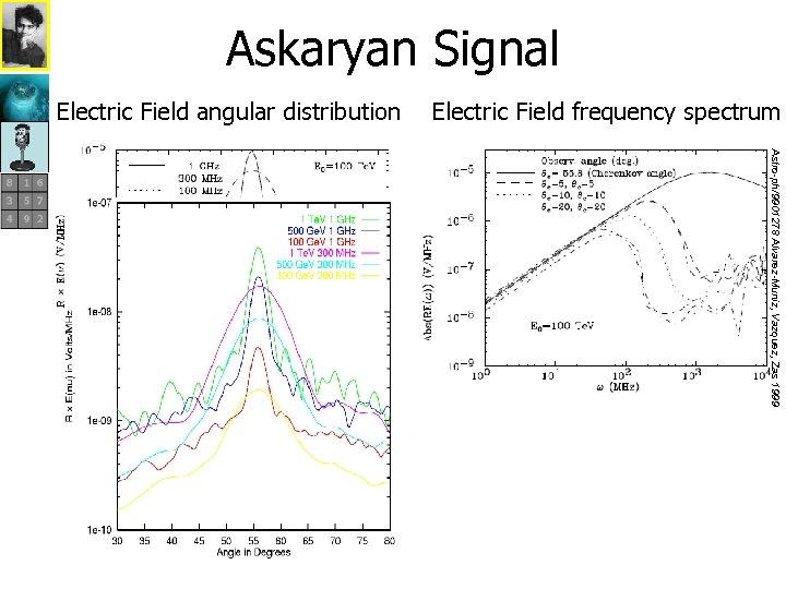 Askaryan Signal Electric Field angular distribution Astro-ph/9901278 Alvarez-Muniz, Vazquez, Zas 1999 Cherenkov angle=55. 8