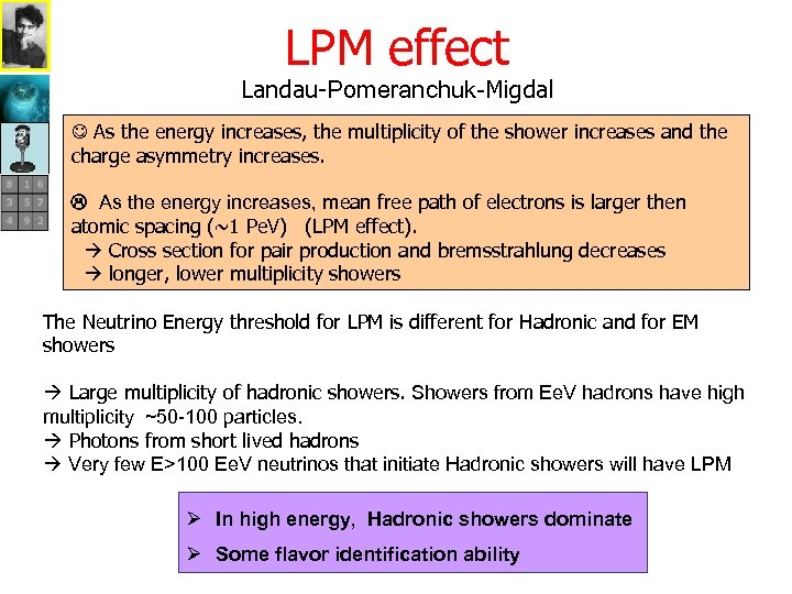 LPM effect Landau-Pomeranchuk-Migdal As the energy increases, the multiplicity of the shower increases and