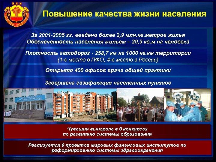 Повышение качества жизни населения За 2001 -2005 гг. введено более 2, 9 млн. кв.