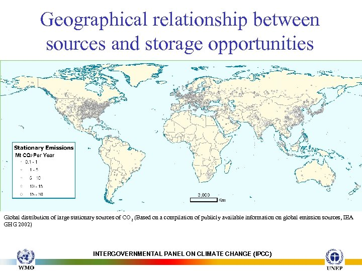 Geographical relationship between sources and storage opportunities Global distribution of large stationary sources of