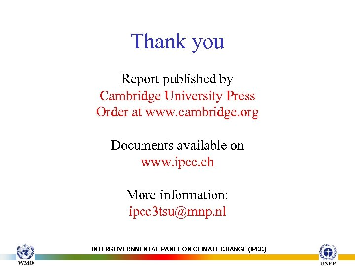 Thank you Report published by Cambridge University Press Order at www. cambridge. org Documents