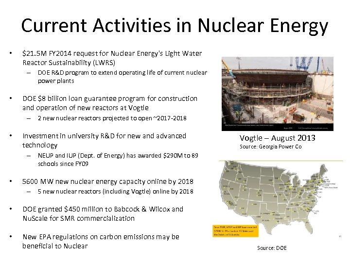 Current Activities in Nuclear Energy • $21. 5 M FY 2014 request for Nuclear