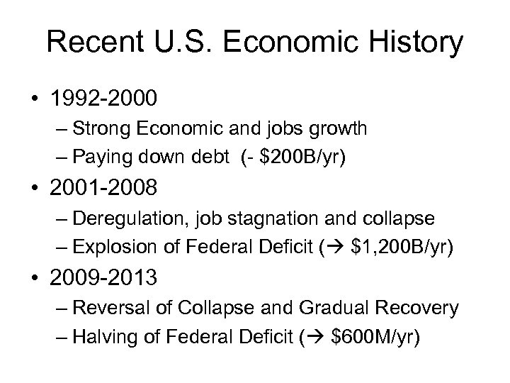 Recent U. S. Economic History • 1992 -2000 – Strong Economic and jobs growth