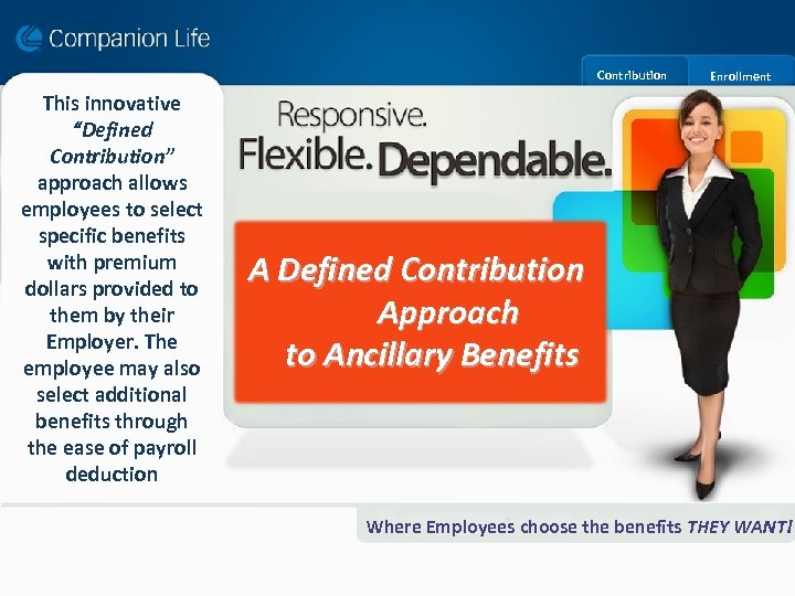 "Contribution This innovative ""Defined Contribution"" approach allows employees to select specific benefits with premium"