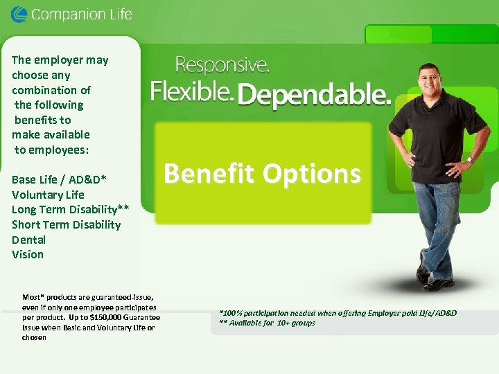 The employer may choose any combination of the following benefits to make available to