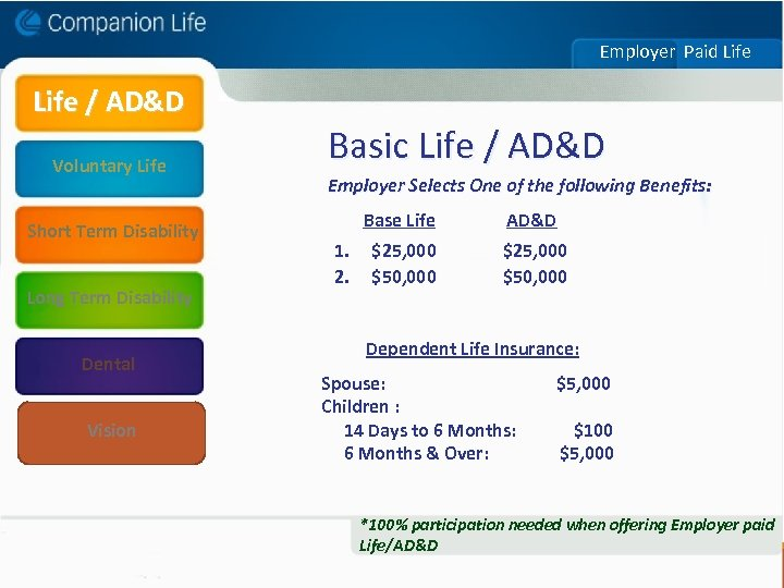 Employer Paid Life / AD&D Basic Life / AD&D Voluntary Life Employer Selects One