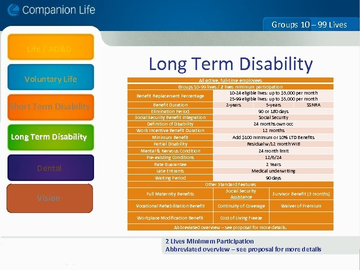 Groups 10 – 99 Lives Life / AD&D Voluntary Life Long Term Disability All