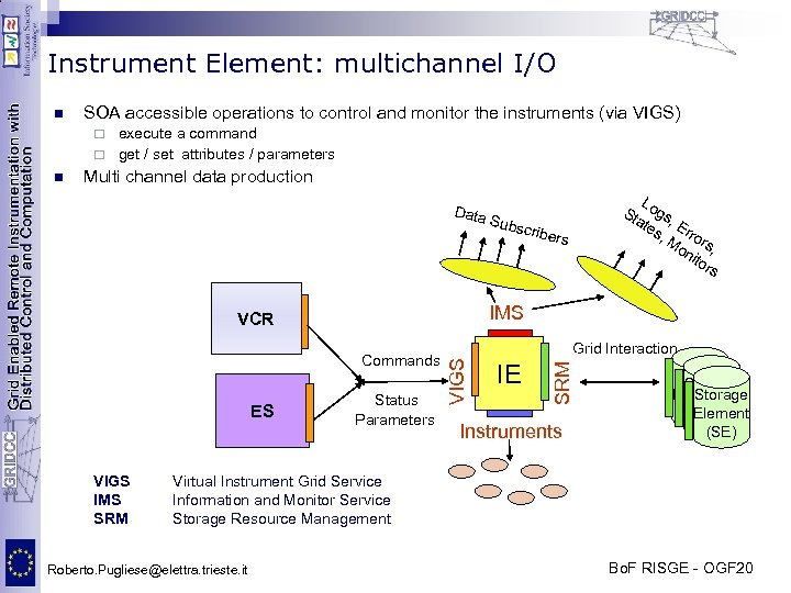 Instrument Element: multichannel I/O n SOA accessible operations to control and monitor the instruments