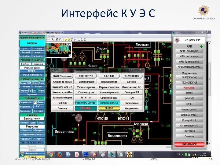 Интерфейс К У Э С © ОАО «НТЦ ФСК ЕЭС» 24/02/12 ФИО 16