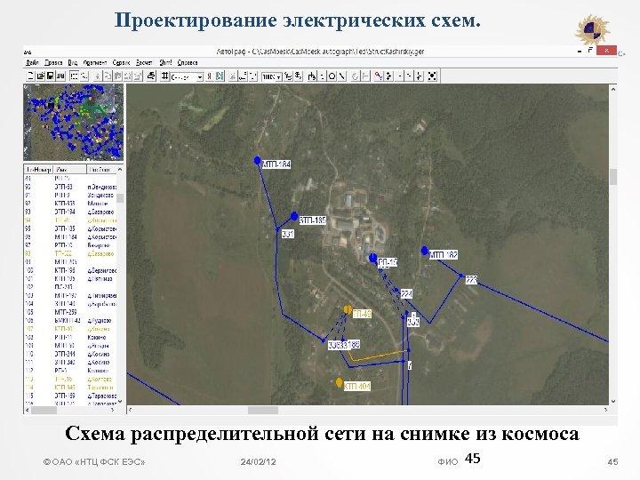 Проектирование электрических схем. Схема распределительной сети на снимке из космоса © ОАО «НТЦ ФСК