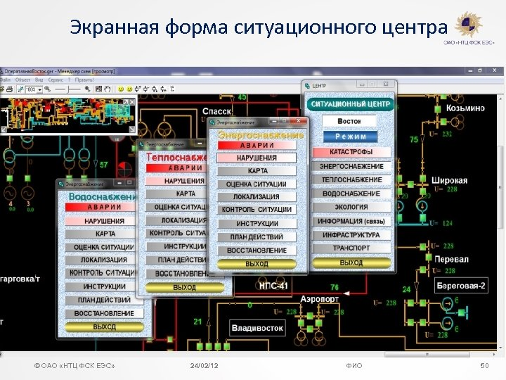 Экранная форма ситуационного центра © ОАО «НТЦ ФСК ЕЭС» 24/02/12 ФИО 50