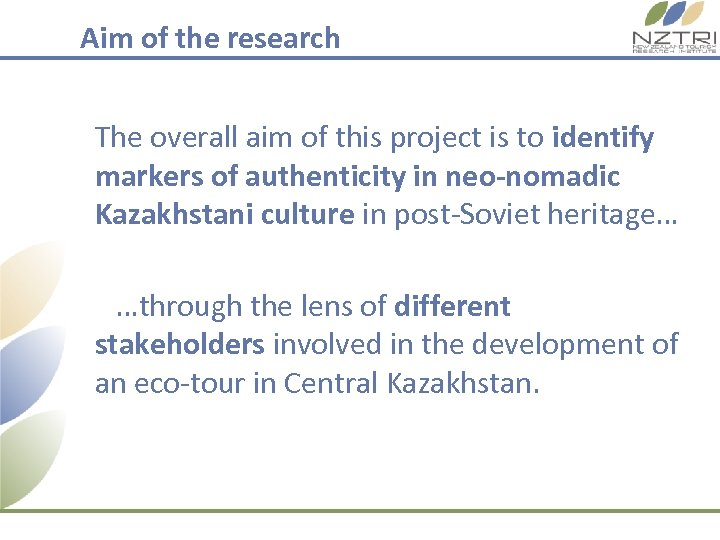 Aim of the research The overall aim of this project is to identify markers