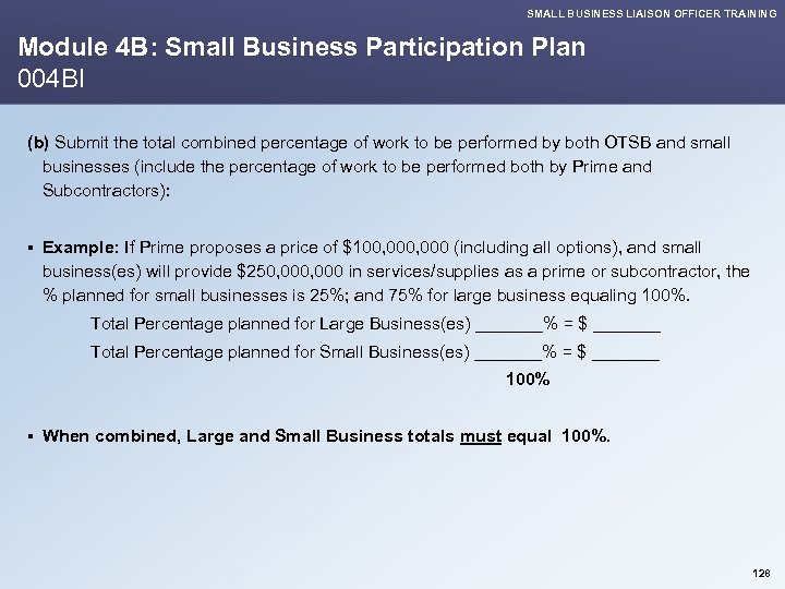 SMALL BUSINESS LIAISON OFFICER TRAINING Module 4 B: Small Business Participation Plan 004 BI