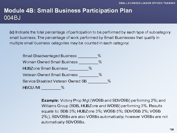 SMALL BUSINESS LIAISON OFFICER TRAINING Module 4 B: Small Business Participation Plan 004 BJ