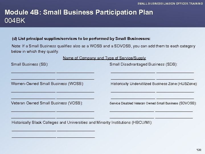 SMALL BUSINESS LIAISON OFFICER TRAINING Module 4 B: Small Business Participation Plan 004 BK