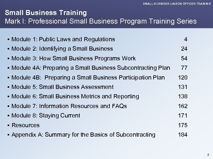 SMALL BUSINESS LIAISON OFFICER TRAINING Small Business Training Mark I: Professional Small Business Program
