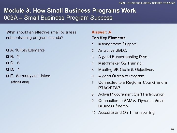 SMALL BUSINESS LIAISON OFFICER TRAINING Module 3: How Small Business Programs Work 003 A