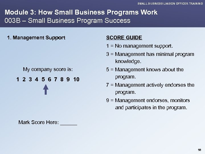 SMALL BUSINESS LIAISON OFFICER TRAINING Module 3: How Small Business Programs Work 003 B