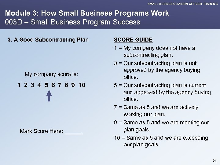 SMALL BUSINESS LIAISON OFFICER TRAINING Module 3: How Small Business Programs Work 003 D