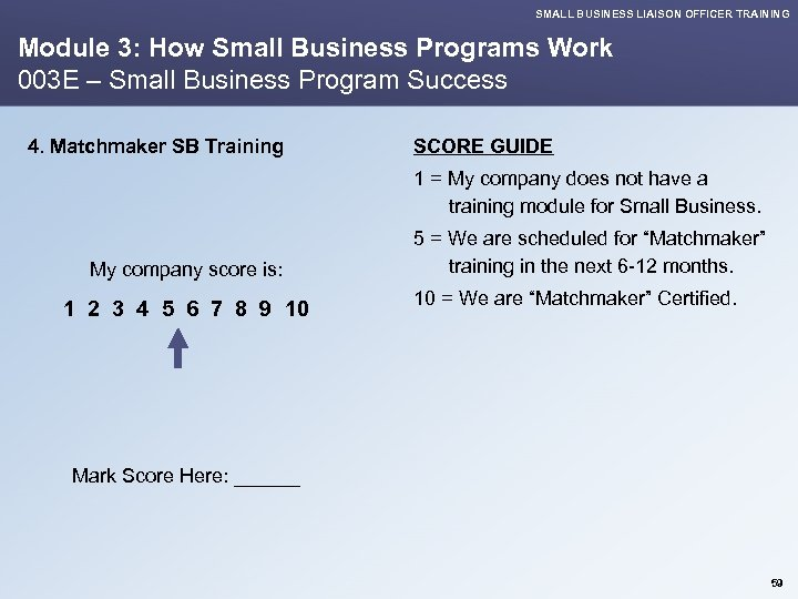 SMALL BUSINESS LIAISON OFFICER TRAINING Module 3: How Small Business Programs Work 003 E