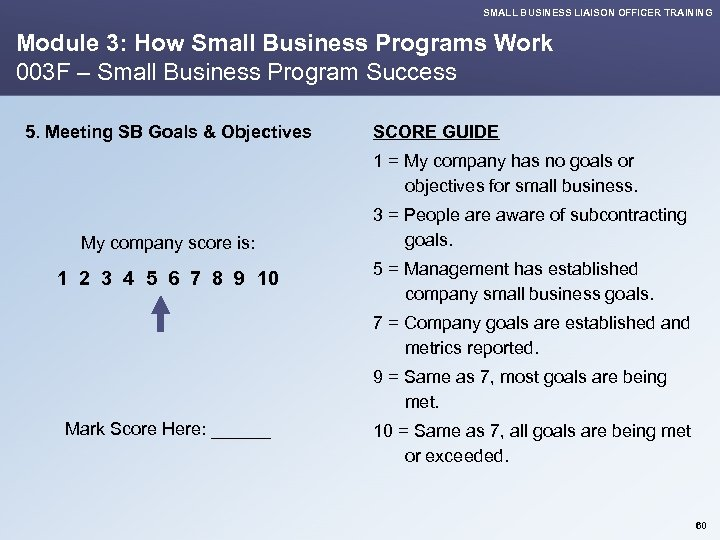 SMALL BUSINESS LIAISON OFFICER TRAINING Module 3: How Small Business Programs Work 003 F