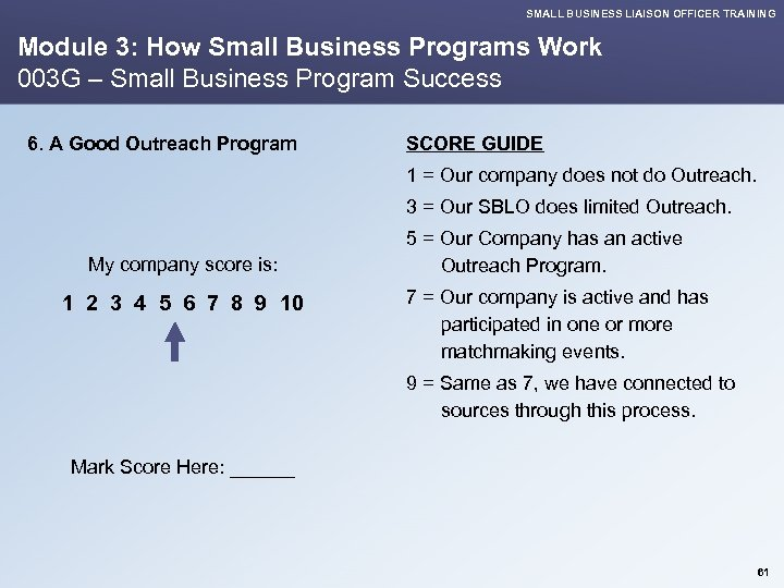 SMALL BUSINESS LIAISON OFFICER TRAINING Module 3: How Small Business Programs Work 003 G