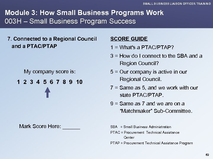 SMALL BUSINESS LIAISON OFFICER TRAINING Module 3: How Small Business Programs Work 003 H